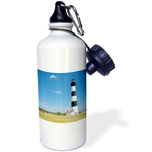 (3dRose wb_93245_1 Bodie Island Lighthouse, Cape Hatteras, NC-US34 DFR0030-David R Frazier Sports Water Bottle, 21 oz, White)