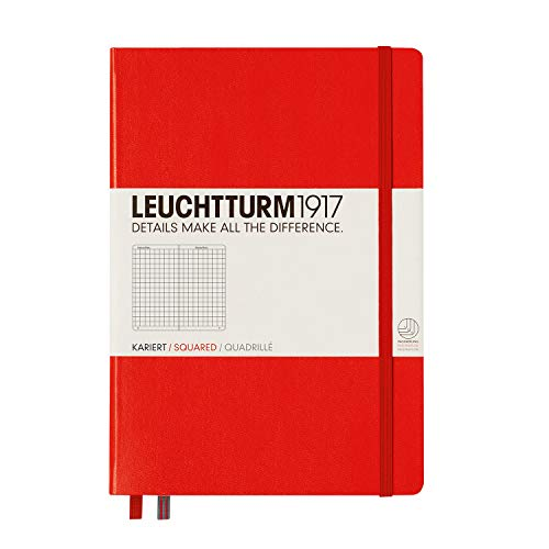 Leuchtturm1917 Medium A5 Squared Hardcover Notebook [Red] - 249 Numbered Pages