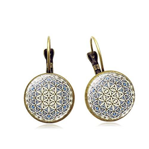Warm New Bohemia Styles Sunflower Jewel Drop Earrings European Classic Silver/Bronze Glass Semi-Precious Gemstones Glass Cabochon