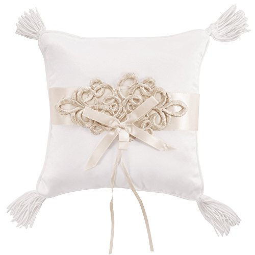 (LONGBLE White Elegant Wedding Rings Bearer Pillow Vintage Champagne Lace Decoration Fringe Ring Cushion Satin with Bowknot Ribbon 18cm Square (W6))
