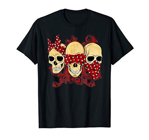 See No Evil, Speak No Evil, Hear No Evil Funny Skull T-Shirt
