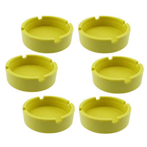Hong Cheng Silicone Round Ashtray, Pack of 6,Colorfull Premium Silicone Rubber High Temperature Heat Resistant Round Design Ashtray (Yellow)