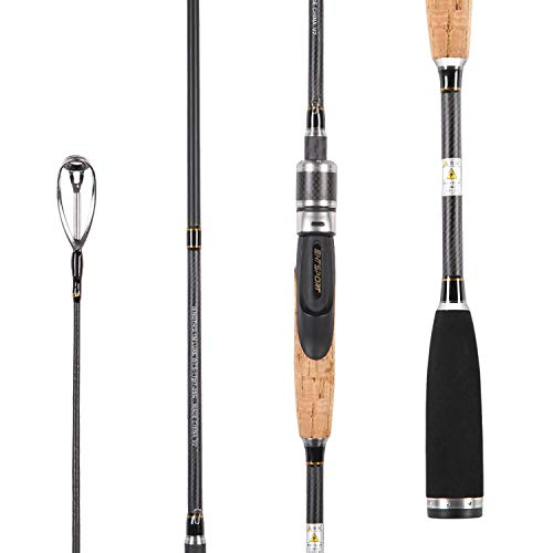 Entsport E Series – Rattlesnake 2 Piece Graphite Spinning Rod with 3 Top Pieces for All Species