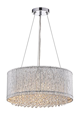 Edvivi Pamina 4-Light Chrome Tube Round Drum Shade Pendant Chandelier with Hanging Crystals | Glam Lighting