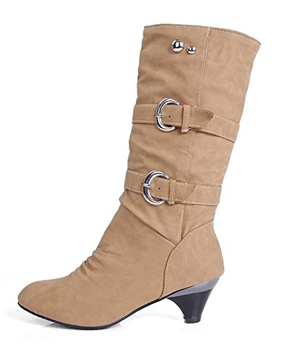 Aisun Women's Stylish Cool Round Toe Buckle Strap Dress Chunky Medium Heel Mid Calf Boots Shoes - stylishcombatboots.com
