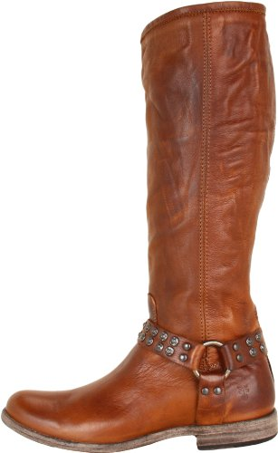Picture of FRYE Women's Phillip Studded Harness Tall Boot, Cognac Soft Vintage Leather, 8 M US