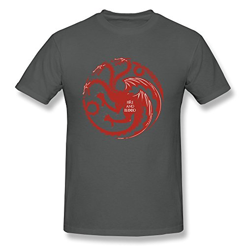 Qi'c Men's Targaryen Fire And Blood T-shirt DeepHeather XL