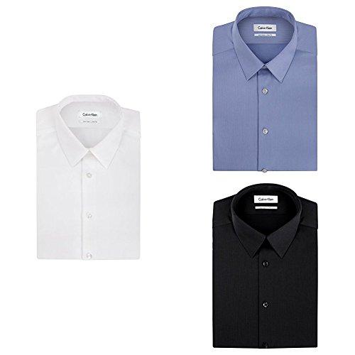 Calvin Klein Men's Non Iron Slim Fit Solid Dress Shirt, White/Mist/Black, 15.5'' Neck 32''-33'' Sleeve by Calvin Klein