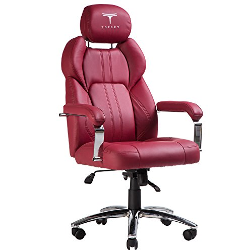 TOPSKY Executive Office Chair Large Leather Chair with Adjustable Headrest High Back (Red)