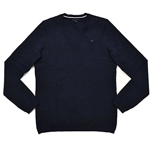 Tommy Hilfiger Nylon Sweater - Tommy Hilfiger Womens Classic V-Neck Sweater (Navy, X-Large)
