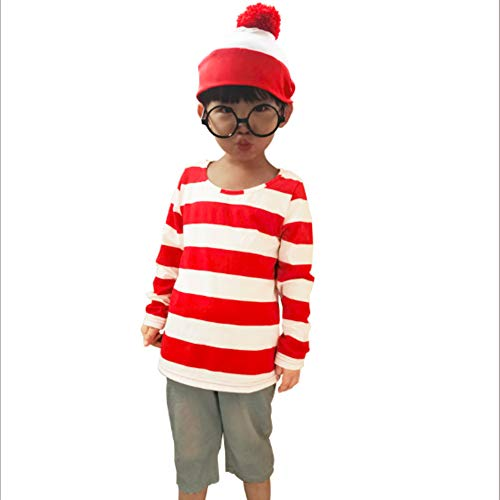 Mitef Christmas Costume, Where's Waldo Funny Striped Sweatshirt with Glasses and Hat for Children, L -