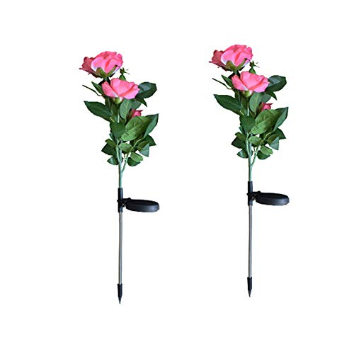 Garden Light Up Rose Flower Stake, Outdoor Solar Powered Rose Lights for Garden Patio Backyard Christmas Pathway Driveway Decoration - Pink ()