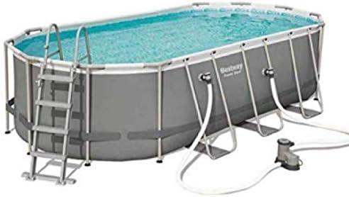Bestway juego de piscina de 18 x 9 pies, marco ovalado de acero con bomba de