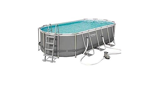 Bestway juego de piscina de 18 x 9 pies, marco ovalado de acero ...