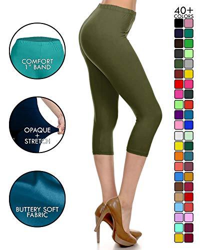 NCPRX128-OLIVE Capri Solid Leggings, Plus Size