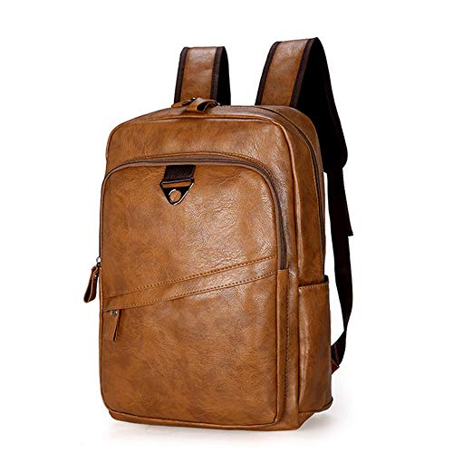 Fashion Men Backpack Waterproof PU Leather Travel Bag Man Large Laptop Backpacks Brown 412812cm