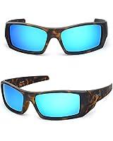 Bnus Corning natural glass lenses blue Mirrored polarized sunglasses for men women (Frame: Matte Tortoise/Lens: Blue Flash, Polarized)