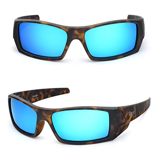 Bnus Corning natural glass lenses blue Mirrored polarized sunglasses for men women (Frame: Matte Tortoise/Lens: Blue Flash, Polarized) by B.N.U.S
