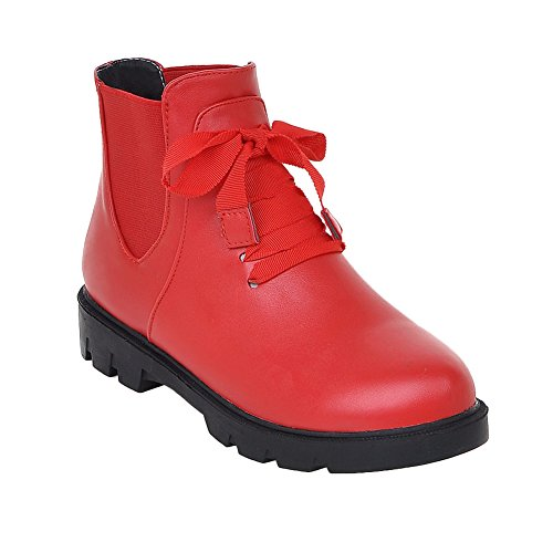 Latasa Womens Fashion Flat Chelsea Fall Ankle Boots Red oYWf1T
