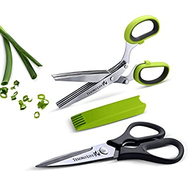 5 Blade Herb Scissors with Cleaning Cover Plus Heavy Duty Kitchen Shears - Shear Genius Scissor Set Features Stainless Steel Blades, an Ergonomic Design and Soft Grip Rubber Handles