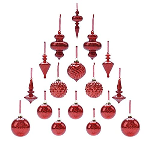 youseexmas mouth blown glass christmas ornaments pack of 17 big size red - Red Christmas Ornaments