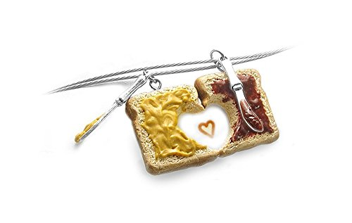Peanut Butter & Jelly Friendship Necklaces, Set of 2, Personalized ~ Food Jewelry (Peanut Butter Jelly Necklace Best Friends)