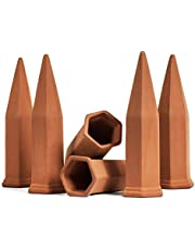 Develoo 6PCS Plant Watering Stakes-Terracotta Self Watering Spikes Home Vacation Plant Waterer Self Irrigation Watering System for Indoor Outdoor Garden House Plants