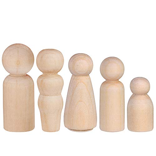 Decorative Wooden Peg Doll People - Assorted Sizes - Set of 50 Includes 5 Shapes Unfinished Wooden Peg Doll Bodies Great for Arts and Crafts