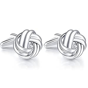 Honey Bear Knot Cufflinks - Stainless Steel For Men's Shirt Wedding Business Gift (Silver)