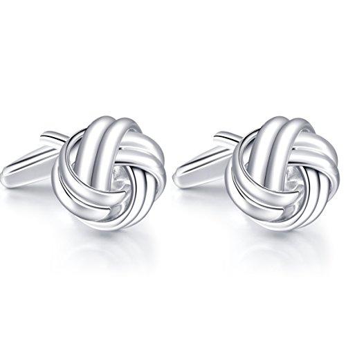 HONEY BEAR Twist Knot Cufflinks for Mens Shirt Wedding Business Gift Silver ()