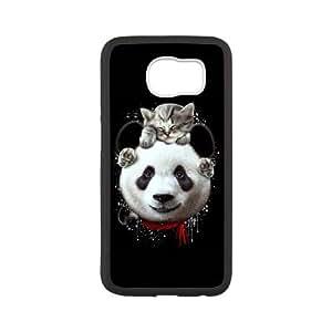 Samsung Galaxy S6 Cell Phone Case White CAT ON PANDA U7X5T