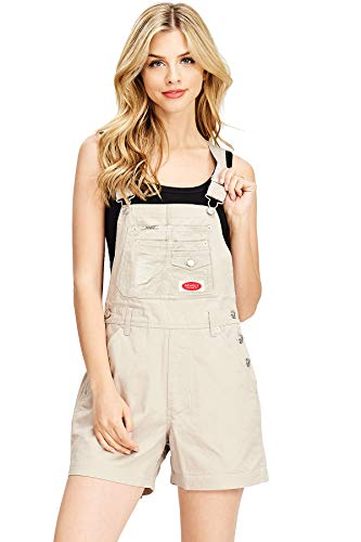 Revolt Women's Juniors Classic Twill Short Overalls (M, Fly Khaki)