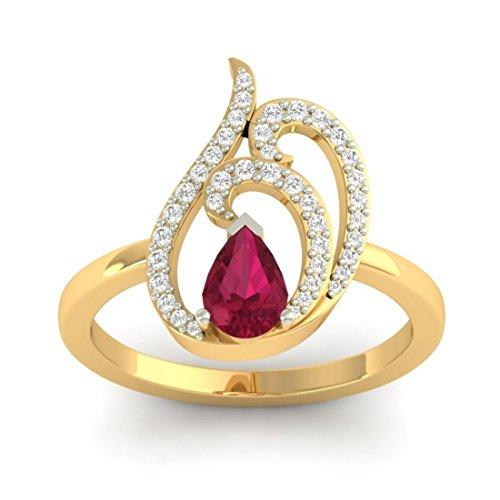 18K Or jaune 0.24carat Diamant Taille ronde (IJ | SI) Rubis et diamant Bague
