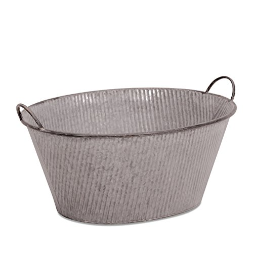 The Farmer's Market Galvanized Planter, Oversized Rustic Wash Basin Oval, Corrugated Sides, Over 2 Ft Long (27½ L x 21 W x 12½ H Inches) By Whole House Worlds (Basket Oval Market)