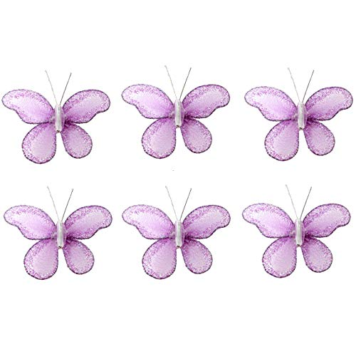 "Butterfly Decor 2"" Purple Lavender Mini X-Small Glitter Nylon Mesh Butterflies 6 Piece Decorations Set Decorate Baby Nursery Bedroom Girls Room Wall Wedding Birthday Party Shower Crafts Scrapbooks DIY"