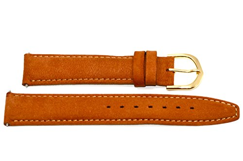 18mm Rust Camel Padded Stitched Suede Like Leather - Rust Camel