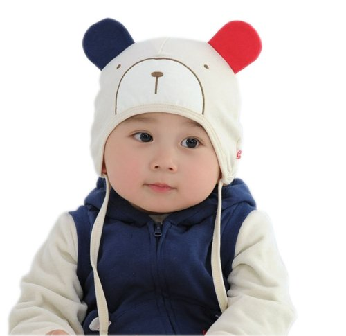 Lovely Cute Bear Warm Baby Boy&Girl Cotton Beanie Infant Hat White 0-12 months