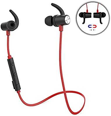 Auriculares Bluetooth 4.1 Magnéticos Deportivos Estereos In-Ear para Correr con HD Mic CVC 6.0 Cancelación de ruido para iPhone Samsung LG Huawei