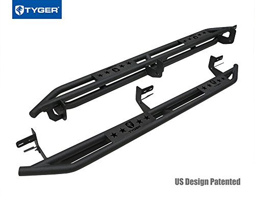 Rail Kit Dodge Ram - Tyger Auto TG-AM2D20078 Star Armor Kit for 2009-2018 Ram 1500 Crew Cab & 2010-2018 Ram 2500/3500 Crew Cab | Textured Black | Side Step | Nerf Bars | Running Boards