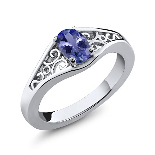 - Gem Stone King Sterling Silver Tanzanite Women's Ring 1/2 cttw, 6x4mm Oval (Size 5)