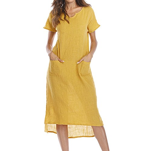 Realdo Womens Casual Solid Dress, Casual V-Colla Loose Pocket Waist Hem Asymmetrical Dress(Yellow,Medium)