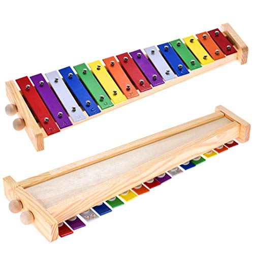 difcuyg5Ozw 15 Notes Wooden Xylophone Percussion Musical Instrument Colorful Portable Educational Kids Toy - Colorful