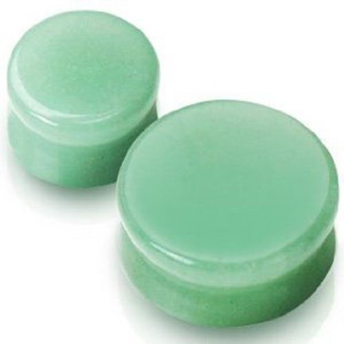 Pair of 1 Inch 25mm Green Aventurine Stone Double Flared Ear Plugs Gauges Free Shipping USA