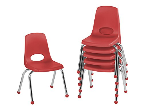 """ECR4Kids 14"""" School Stack Chair, Chrome Legs with Ball Glides, Red (6-Pack)"""