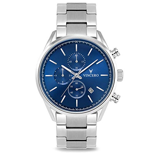 Vincero Luxury Men's Chrono S Wrist Watch - Stainless Steel Band - 40mm Chronograph Watch - Japanese Quartz Movement (Blue Steel)