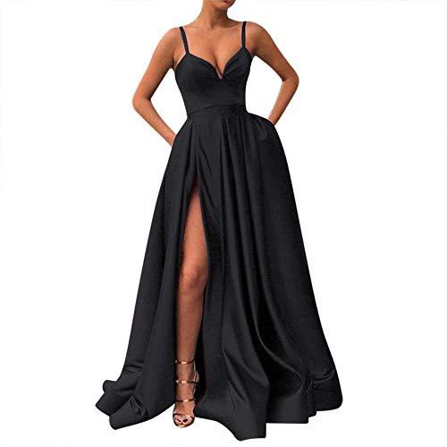 Fanciest Women's Spaghetti Straps Slit Satin Prom Evening Dresses with Pockets Black US16