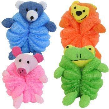 Animal Bath Sponges - Set of 4 (Blue Bear, Green Frog, Orange Monkey, and Pink Pig)