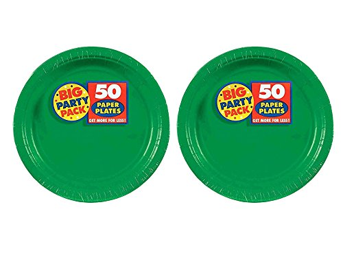 2 Set of 50 Amscan Big Party Pack Festive Green Paper Dinner
