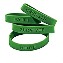 50 GREEN SILICONE AWARENESS BRACELETS Support Kidney, Depression, Leukemia, Tourette's Awareness