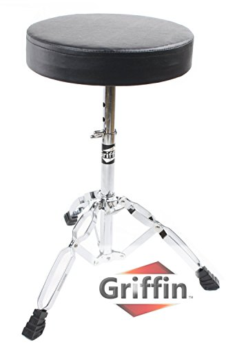 Drum Throne Stand by Griffin | Padded Drummer's Seat | Comfortable Drum Set Percussion Stool for Adults | Professional Double Braced Hardware Chair for Practice with Adjustable Height from 18